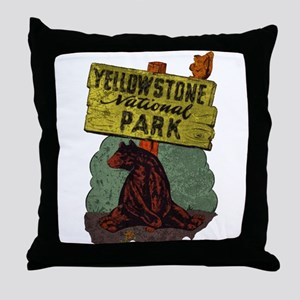 Vintage Yellowstone Throw Pillow