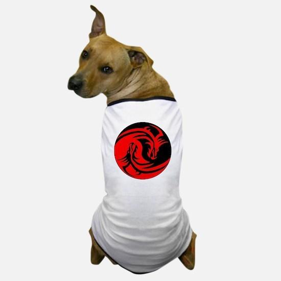 Red And Black Yin Yang Dragons Dog T-Shirt
