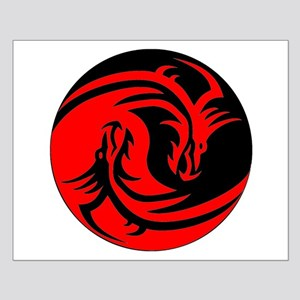 Red And Black Yin Yang Dragons Poster Design
