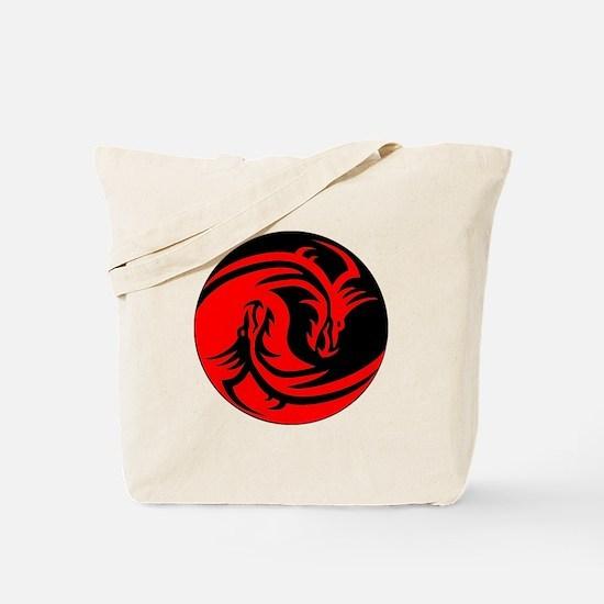 Red And Black Yin Yang Dragons Tote Bag
