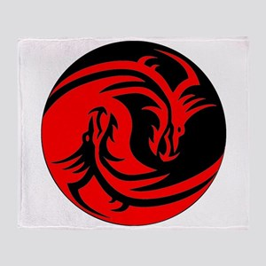Red And Black Yin Yang Dragons Throw Blanket