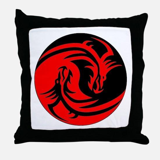 Red And Black Yin Yang Dragons Throw Pillow