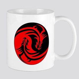 Red And Black Yin Yang Dragons Small Mug