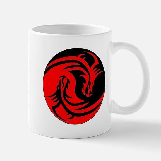 Red And Black Yin Yang Dragons Small Mug