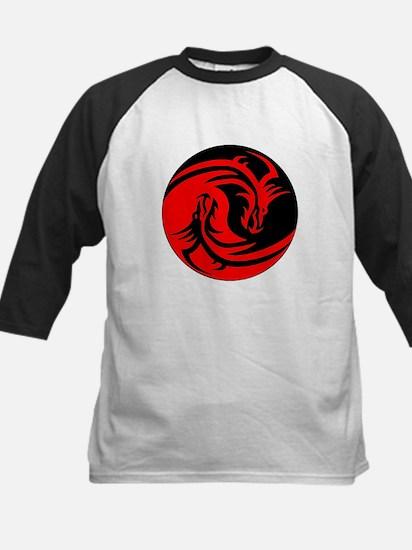 Red And Black Yin Yang Dragons Baseball Jersey