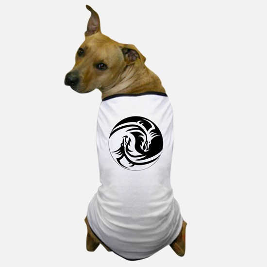 Black And White Yin Yang Dragons Dog T-Shirt