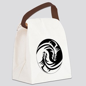Black And White Yin Yang Dragons Canvas Lunch Bag