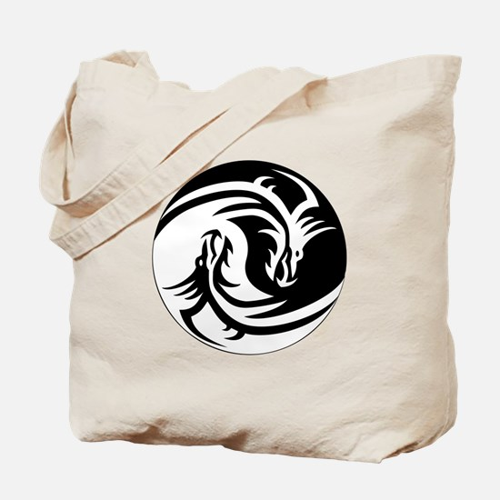 Black And White Yin Yang Dragons Tote Bag