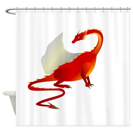 Red Dragon With Wings Shower Curtain