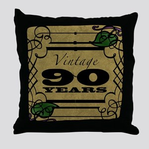 Vintage 90th Birthday (Gold) Throw Pillow