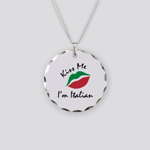 Kiss Me I'm Italian Necklace Circle Charm