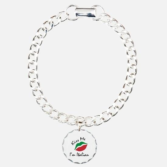 Kiss Me I'm Italian Charm Bracelet, One Charm
