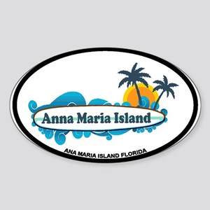 Anna Maria Island - Surf Design. Sticker (Oval)
