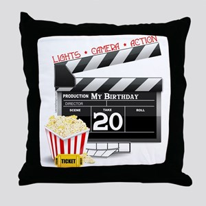 20th Birthday Hollywood Theme Throw Pillow