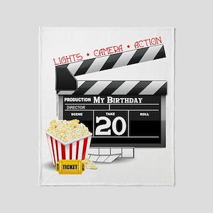 20th Birthday Hollywood Theme Throw Blanket