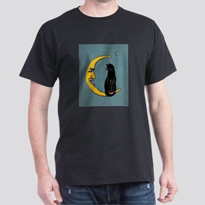 Black Cat, Moon, Vintage Poster T-Shirt