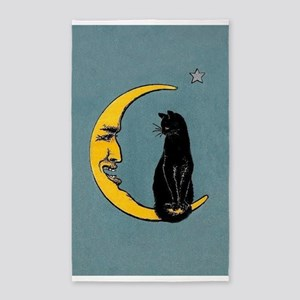 Black Cat, Moon, Vintage Poster 3'x5' Area Rug