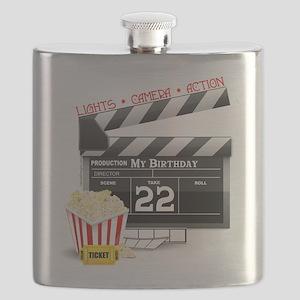 22nd Birthday Hollywood Theme Flask