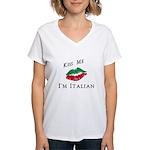 Kiss Me I'm Italian Love Women's V-Neck T-Shirt