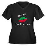 Kiss Me I'm Women's Plus Size V-Neck Dark T-Shirt