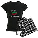 Kiss Me I'm Italian Love Women's Dark Pajamas