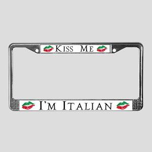 Kiss Me I'm Italian Love License Plate Frame