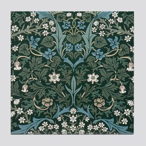 Blue and White Flowers on Green Tile Coaster
