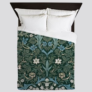 Blue and White Flowers on Green Queen Duvet