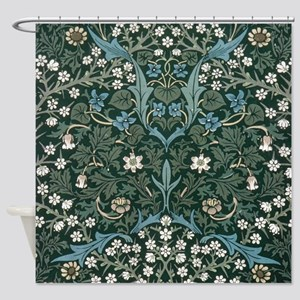 Blue and White Flowers on Green Shower Curtain