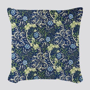 Blue Daises by William Morris Woven Throw Pillow