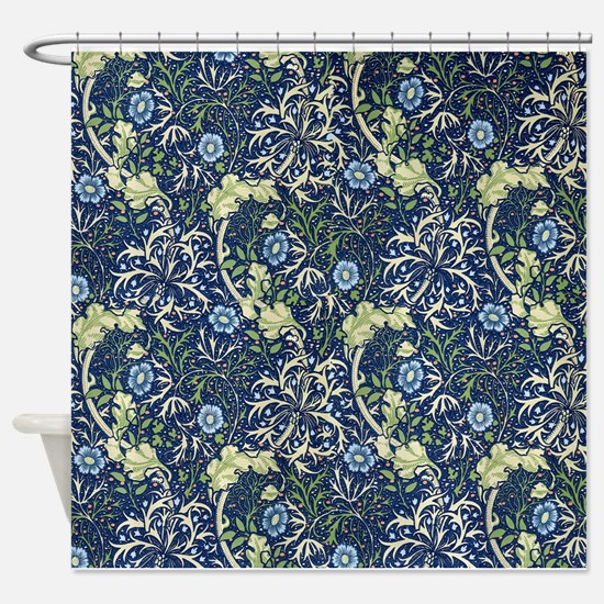 Blue Daises by William Morris Shower Curtain