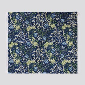 Blue Daises by William Morris Throw Blanket