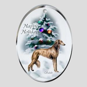 Saluki Christmas Ornament (Oval)