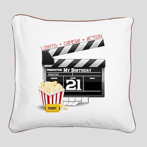 21st Movie Birthday Square Canvas Pillow
