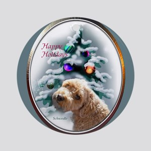 Schnoodle Christmas Ornament (Round)