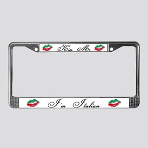 Kiss Me I'm Italian Romantic License Plate Frame