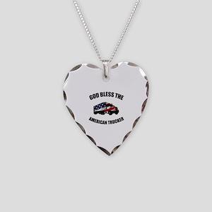 American Trucker Necklace Heart Charm