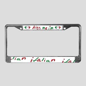 Kiss Me I'm Italian Cute Kawaii License Plate Fram