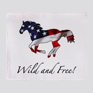 American Horse Throw Blanket
