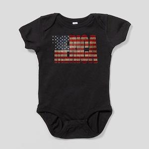 Vintage MERICA U.S. Flag Baby Bodysuit