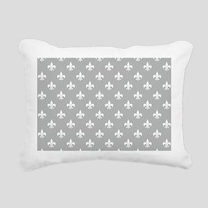 Lt Gray Fleur de Lis Rectangular Canvas Pillow