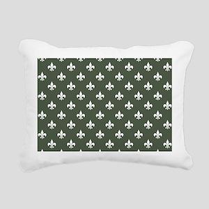 Dark Loden Green Fleur de Lis Rectangular Canvas P