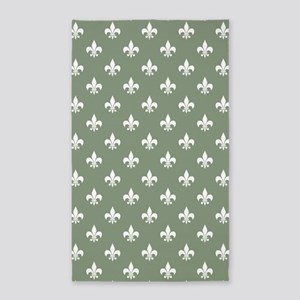 Med Loden Green Fleur de Lis 3'x5' Area Rug