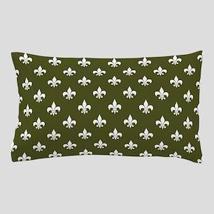 Dk Olive Green Fleur de Lis Pillow Case