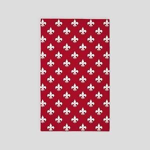 DK Berry Red Fleur de Lis 3'x5' Area Rug