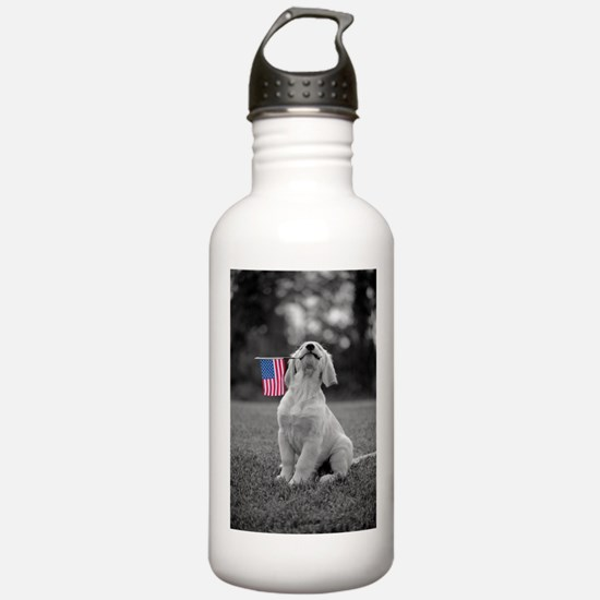 4th of July Patriotic Puppy Water Bottle