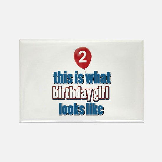 2 year old birthday girl designs Rectangle Magnet