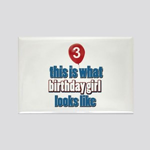 3 year old birthday girl designs Rectangle Magnet