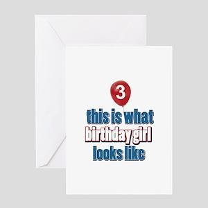 3 year old birthday girl designs Greeting Card