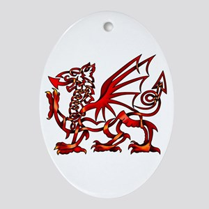 Welsh Dragon Ornament (Oval)